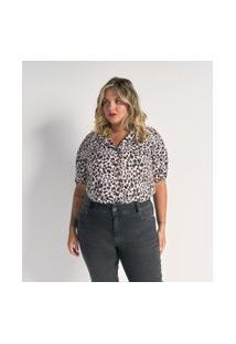 Camisa Manga Curta Em Crepe Estampa Animal Print Curve & Plus Size | Ashua Curve E Plus Size | Branco | Eg