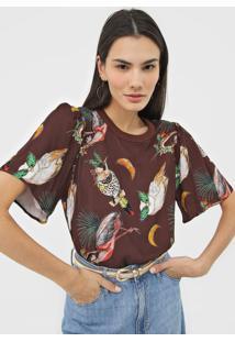 Camiseta Colcci Estampada Marrom