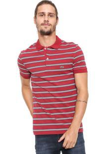 89da961151 Camisa Polo Lacoste Reta Listras Vermelha