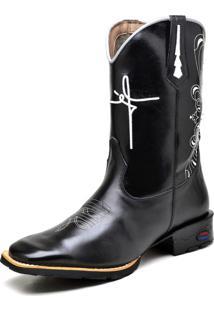 Bota Texana Fak Boots Cano Longo Bordado Fé Preta - Kanui
