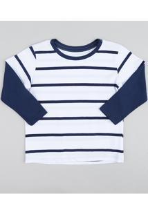 CEA. Camiseta Infantil Listrada Básica Manga Longa Branca ffe0dc8cb0ad0
