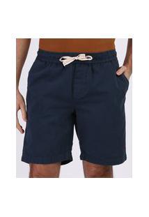 Bermuda De Sarja Masculina Reta Com Cordão E Bolsos Azul Marinho