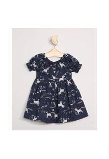Vestido Infantil Estampado Unicórnios Manga Curta Bufante Azul Marinho