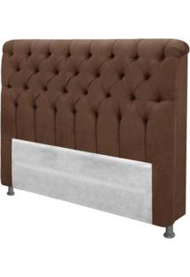 Cabeceira Casal King Size 1.95 Cm Imperatriz Suede Marron Chocolate - Simbal