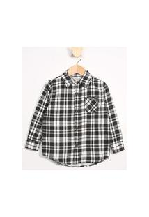 Camisa Infantil De Flanela Estampada Xadrez Com Bolsos Preta