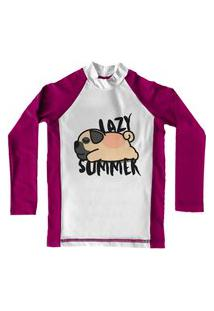 Camiseta De Lycra Comfy Lazy Rosa