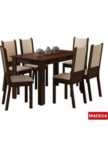 Mesa De Jantar Com 6 Cadeiras Madesa Tabáta Tabaco/Crema E Pérola