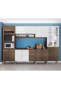 Cozinha Compacta Rafaela 15 Pt 3 Gv Castanho E Branca
