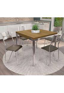 Conjunto De Mesa E 4 Cadeiras Cmc343Cr-21 - Kappesberg - Cromado / Marrom