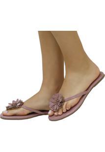 Rasteira Mercedita Shoes Verniz Opala Com Flor Rosa Ultra Conforto - Rosa - Feminino - Dafiti