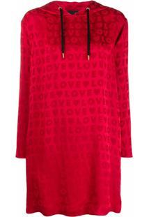 Love Moschino Vestido Jacquard Com Logo E Capuz - Vermelho