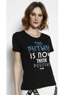 """Camiseta """"The Future"""" Com Paet㪠- Preta & Branca - Ccoca-Cola"""