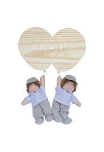Enfeite Maternidade Gêmeos Bexigas Irmãos Meninos Nome Bebê Potinho De Mel