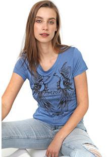 Camiseta Colcci Estampada Azul