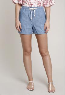 Short Jeans Feminino Com Bolsos E Cadarço Azul Claro