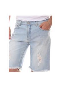 Bermuda Jeans Calvin Klein Masculina Destroyed Yellow Label Light