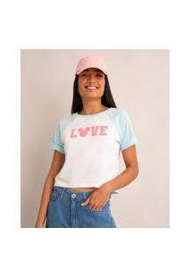 "Camiseta Raglan De Algodão Mickey ""Love"" Manga Curta Decote Redondo Azul Claro"