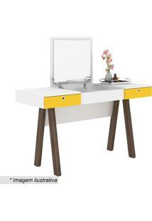 Penteadeira Escrivaninha- Branca & Amarela- 75,5X131Tecnomobili