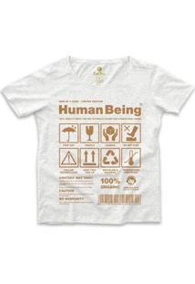 Camiseta Ampla Cool Tees Seres Humanos Feminina - Feminino-Mescla Claro