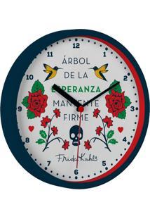 Relógio De Parede Branco 22,5Cm Frida Kahlo Urban