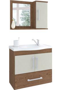 Conjunto De Banheiro Atenas Amêndoa E Off White