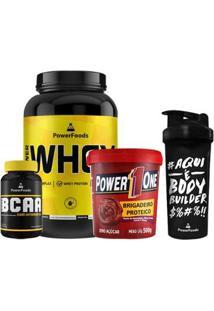Kit Power Whey Pote 907G + Powerbcaa 120 Cáps + Brigadeiro Proteico + Coqueteleira 700Ml - Unissex