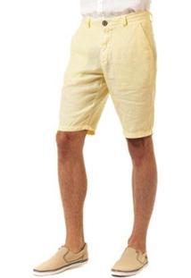 Bermuda Docthos Linho Masculina - Masculino-Amarelo Claro