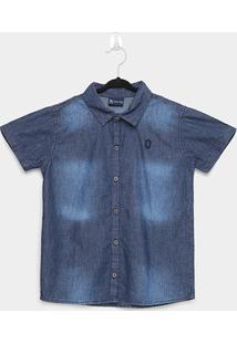 Camisa Jeans Infantil Manga Curta Quimby Estonada Masculina - Masculino