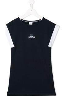 Boss Kids Vestido De Algodão Com Estampa De Logo - Azul