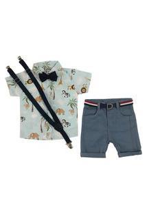 Kit Infantil Bermuda + Camisa + Suspensório E Gravata Mabu Denim
