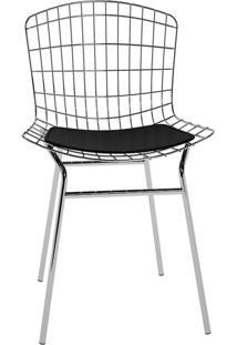 Cadeira Trama Preta E Cromado