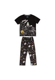 Pijama Primeiros Passos Abrange Espaço Preto Abrange Casual Preto
