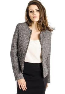 Casaqueto Tweed Com Corrente Alphorria Feminino - Feminino-Preto