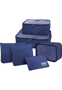 Kit De Organizador De Malas- Azul Escuro- 6Pçs- Jacki Design
