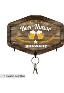 "Porta Chaves ""Beer House""- Marrom Escuro & Amarelo- Kapos"