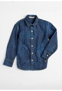 Camisa Mini Pf Keans Abais Infantil Reserva Mini Masculina - Masculino-Azul Petróleo