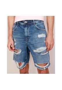 Bermuda Jeans Masculina Destroyed Reta Azul Escuro