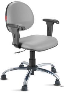 Cadeira Escritório Cinza Cromada Com Braços