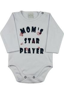 Body Bebê Suedine Moms Star Player Ano Zero - Masculino-Branco