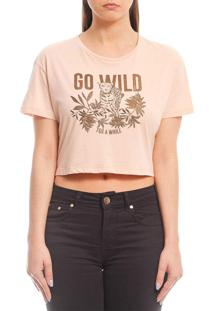 Camiseta Cropped Sommer Go Wild Bege