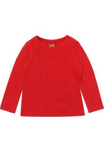 Camiseta Kyly Menina Liso Vermelha