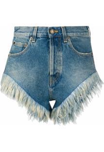 Saint Laurent Shorts Jeans Com Acabamento De Plumas - Azul