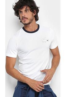 Camiseta Lacoste Live Com Logo Masculina - Masculino-Branco 3852475d82