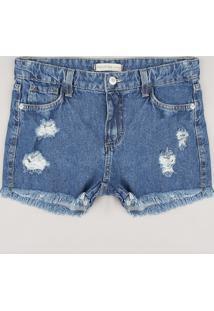 Short Jeans Juvenil Destroyed Azul Médio