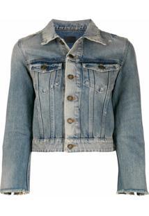 Saint Laurent Jaqueta Jeans Com Efeito Desbotado - Azul