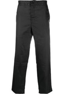 Comme Des Garçons Homme Plus Shadow Striped Cropped Trousers - Preto