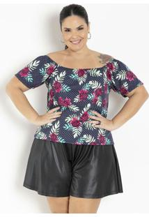 Blusa Floral E Poá Com Ombros A Mostra Plus Size