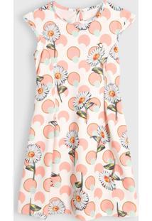 Vestido Colorittá Infantil Floral Poá Off-White/Laranja