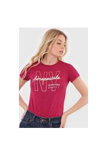 Camiseta Aeropostale Lettering Vinho