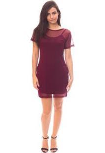 Vestido Moda Vicio Camiseta Tule Feminino - Feminino-Vinho